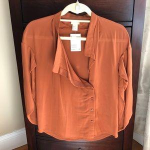 Rust blouse w/asymmetrical button position